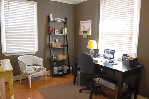 Desk: World Market; Rug: Crate And Barrel; Shelf: Crate And Barrel;  Baskets: Target; Side Chair: DIY; Glass Lamp Base: Target; Lamp Shade: DIY;  ...